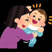 赤ちゃんをくすぐる親のイラスト